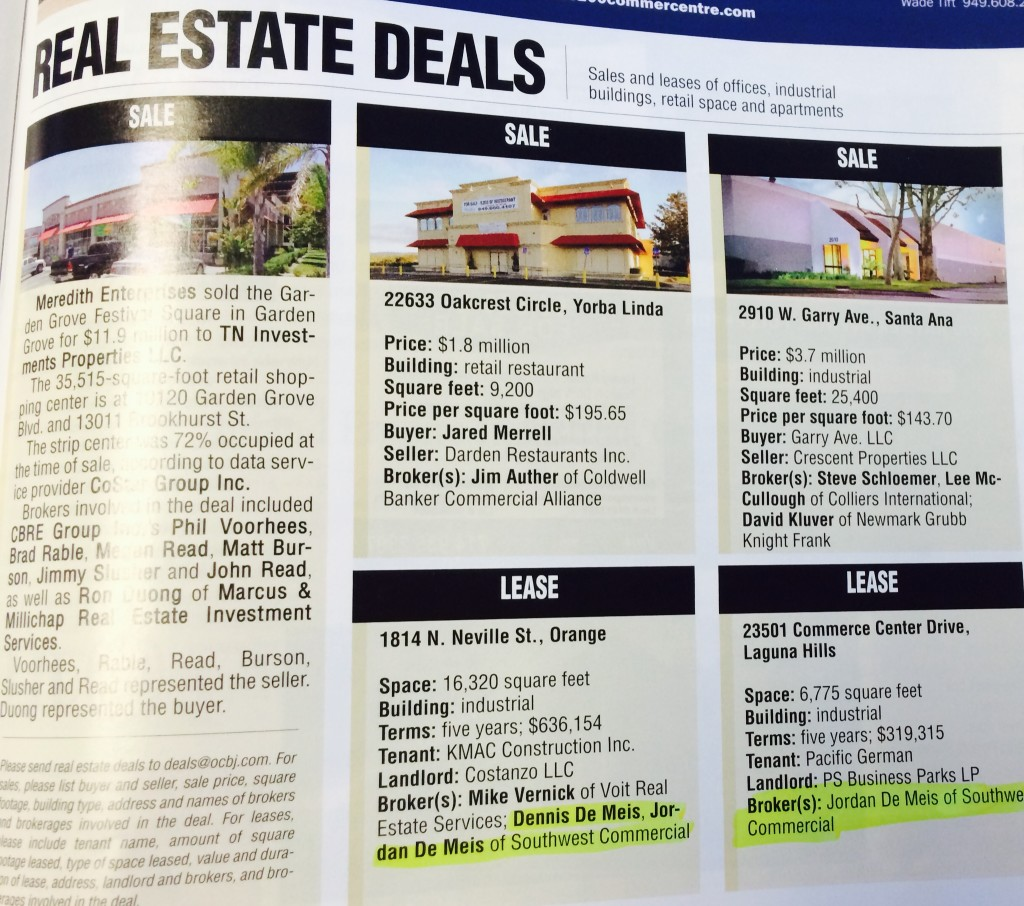 OCBJ Real Estate Deals