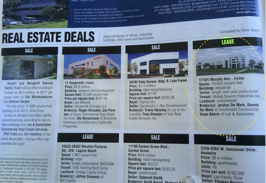 lease comp Irvine CA